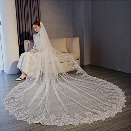 QQA Cathedral Wedding Veil Bridal Wedding Dress Accessories Lace Edge 3M Trailing Net Yarn And Insert The Comb White/Ivory White, 3m