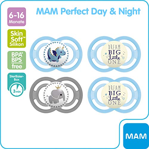 Mam Juego De 4 Chupetes Day Night 2 Mam Perfect Y 2 Mam Perfect Night Fomentan El Desarrollo Natural De Dientes Y Mandibula Luminosos Y Con Caja Para Chupete