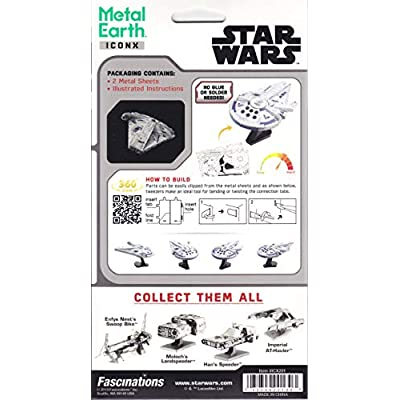 Fascinations ICONX Star Wars Solo Lando's Millennium Falcon 3D Metal Model Kit: Toys & Games