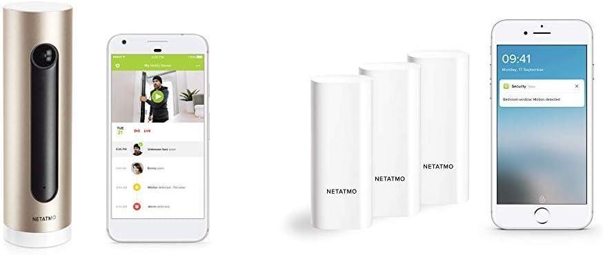 Cam/éra Int/érieure WiFi Netatmo Pack de Surveillance Intelligent 3 D/étecteurs dOuverture pour Portes et Fen/êtres