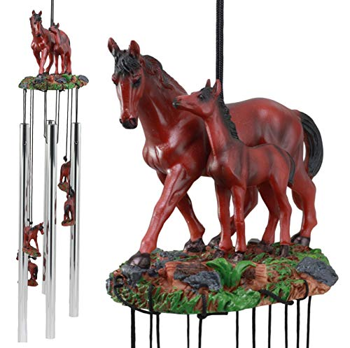 Chime Horse Wind (Ebros Farm Countryside Wild Brown Mother Horse With Foal Wind Chime Resonant Relaxing Garden Patio Noisemaker Decor As Farmland Western Rustic Decorative Figurine For Cowboys Cowgirls Country Horses)