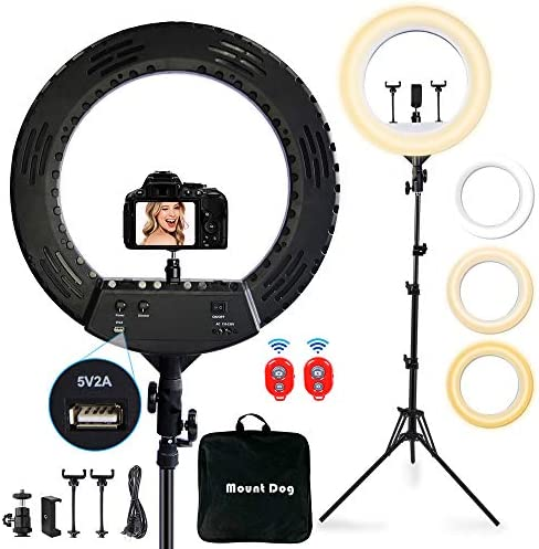 "18"" Ring Light with 3 Phone Holders, MOUNTDOG Led Ring Light with 79"" Tripod Stand&Bluetooth Remote&Carrying Bag, Lighting Kit Dimmable for Camera/Smartphone/YouTube Makeup/Video Shooting/Vlog/Selfie"