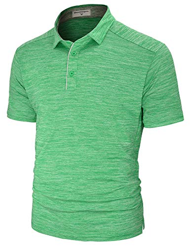 (Derminpro Men's Performance Polo Shirts Short Sleeve Dri-Fit Breathable Golf T-Shirts Green Medium)