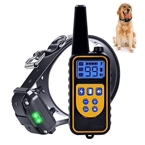 Dog Training Collar For Large Dog Or Small Dog With 2500ft Remote Control Dog Shock Collar IPX7 Waterproof LCD Display Adjustable Size Luminescent Collar USB Charging by YISENCE