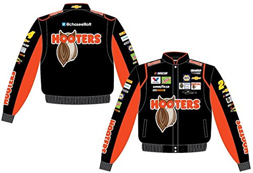 - 2017 Chase Elliott Hooters Mens Black Twill Nascar Jacket by JH Design (2XL)