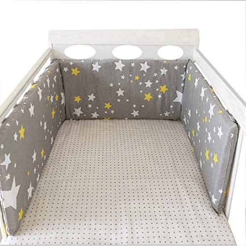 """BATTILO HOME Baby Nursery Removable Cover Baby Bed Thicken Bumper One-Piece Crib Around Cushion Cot Protector Pillows Newborns Room Decor, 78.7"""" x 11.8"""" (Starry Gray)"""