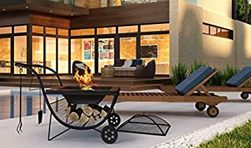 Phoenix - Parrillera portátil para asador o chimenea para exteriores, para jardín, patio,