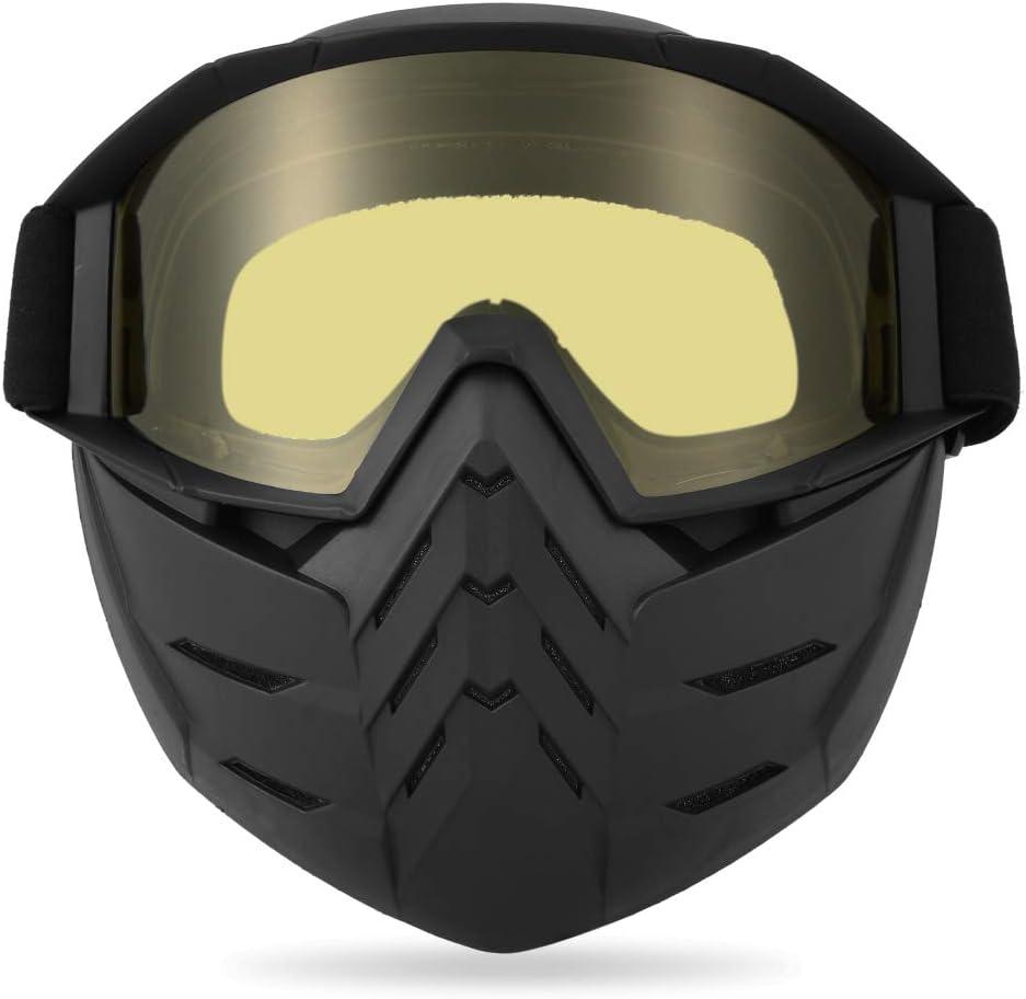 Lixada Motos Gafas UVA400 Protección Invierno Esquí Gafas de Montar Patinaje Gafas Deportivas con Máscara Desmontable (2, Amarillo)