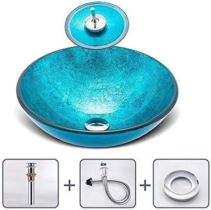 洗面化粧台シンク バスルームオーシャンブルーアーティスティック容器シンク浴室強化ガラスでオイルラバーブロンズの蛇口、ポップアップドレイン 和風 洋風 お洒落な 節水 節約 (Color : Blue, Size : 57x37x11cm)