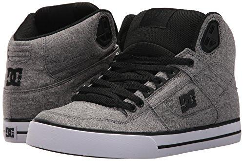 DC Men's Spartan High WC TX SE Skate Shoe, Black/Heather Grey, 12 D US