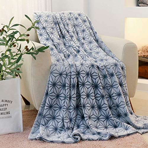 FY FIBER HOUSE Fleece Throw Blanket, Flannel Bedspreads for Adults,60 by 80-Inch,Blue