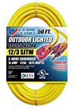 US Wire 74050 50-Foot Heavy Duty Lighted Plug Extension Cord (Yellow, 4-Pack)