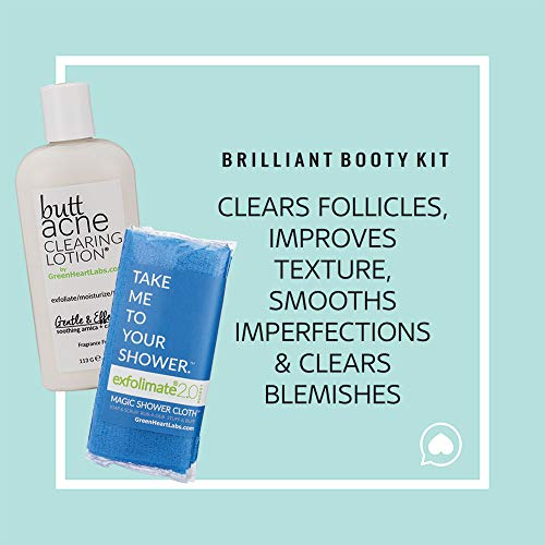 Brilliant Booty Kit Butt Acne Clearing Lotion and ExfoliMATE Magic Body Exfoliating Cloth for Soft Young Skin Aqua