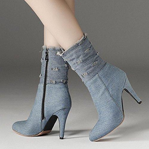 Lt Melady Ankle blue Zipper Classic Boots Women xxqXaZA7