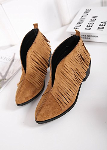 LvYuan-mxx Las mujeres ponen en cortocircuito las botas / el verano y el resorte / las borlas del ante / el talón grueso / la oficina y la carrera / el vestido / ocasional / los zapatos de tacón alto  BROWN-38