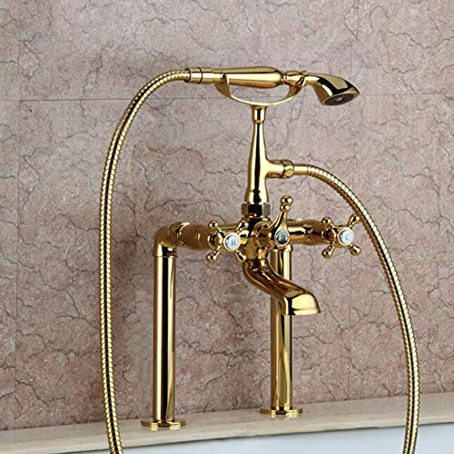 (BILLY'S HOME Bathroom Tub Spout, Gold Plated Bathtub Faucet Set, European Style Luruxy Tub Filler Faucet with Handheld Shower Head 2 Holes Long Hose )