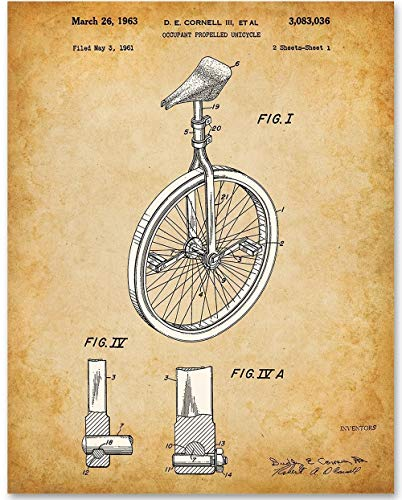Unicycle - 11x14 Unframed Patent Print - Great Gift for Athletes