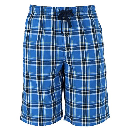 (Hanes Men's Cotton Madras Drawstring Sleep Pajama Shorts, Xlarge, Galapagos)