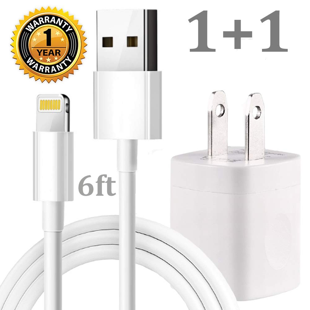 White Cellphone Charging Kit Pack of 10FT USB Data Sync Cable Charging Cord with Cube Wall AC Charger Brick Power Adapter Plug Compatible with iPhone Xr Xs X Max 8 7 6 5 SE iPad Pro Mini Air