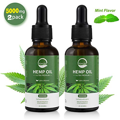 (5000mg, 2 Pack) Somora Hemp Oil, 100% Organic, Cold-Pressed, Non-GMO, Vegan Friendly, Rich in Omega 3-6-9 Essential Fatty Acids, Vitamin E & B, Sleep Aid, Pain Relief, Mind Boost, Skin & Hair Care