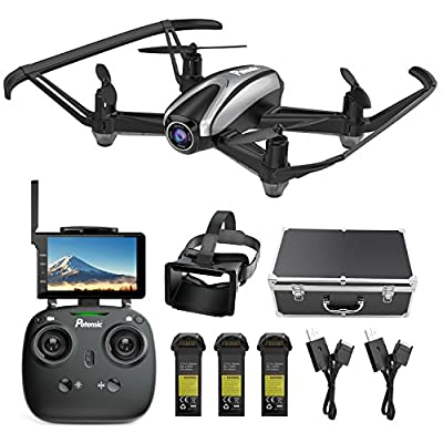 Potensic Drone with Camera, FPV RC Quadcopter 720P HD Live Vide with 5 Inch Screen Monitor, Headless Mode & Altitude Hold Function -VR Goggles Equipped by Potensic