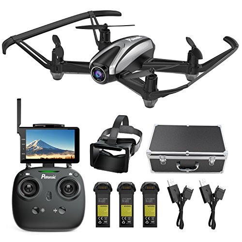 Master Video Monitor - Drone with Camera, Potensic RC Quadcopter 720P HD Live Video 5.8Ghz FPV 5 Inch Screen Monitor Headless Mode & Altitude Hold Function & Carrying Case & VR Glasses
