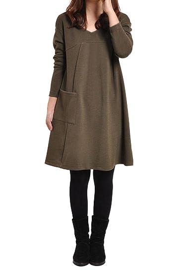 TOOGOO(R)Ropa femenina Blusa de Sueter de division de talla mas grande Vestido