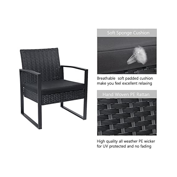Flamaker 3 Pieces Patio Set Outdoor Wicker Patio Furniture Sets Modern Bistro Set Rattan Chair Conversation Sets with Coffee Table for Yard and Bistro (Black) - 【Simple & Practical】 Closed armrest and leg design makes the chair simple but modern and no need to worry about the rattan falling off when they are used after a long time. 【Sturdy & Durable】The powder coated steel frame are rust-proof and high-quality hand woven weather-resistant PE wicker won't fade.Each seat supports up to 250 pounds. 【Upgraded Comfort】The wide and deep chairs cushioned by very soft padded seat cushions will make you forget your fatigue and enjoy your leisure time completely. - patio-furniture, patio, conversation-sets - 51AL%2Bxz cdL. SS570  -