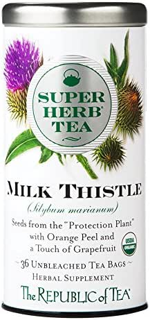 The Republic of Tea Organic Milk Thistle Superherb Detox Herbal Tea (36 Tea Bags)