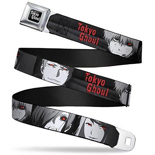 TOKYO GHOUL Full Color Black/White Seatbelt Belt - TOKYO GHOUL 4-Character Faces CLOSE-UP Black/Grays/Red Webbing X-LARGE