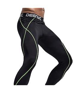 Yuanu Uomo Alta Elasticità Compressione Fitness Pantaloni Asciugatura Rapida Sport Leggings Running Esercizio Stretto Pantaloni Nero&Verde Linea M