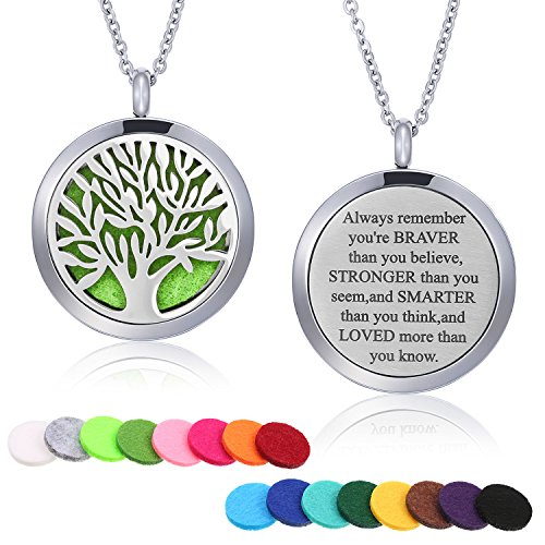 (Mtlee Aromatherapy Essential Oil Diffuser Necklace Locket Pendant Stainless Steel Perfume Necklace with 16 Refill Pads and 24 inch Adjustable Chain (Tree A))