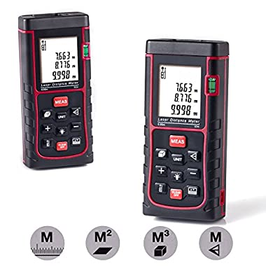 Laser Distance Measure,Handheld Range Finder Meter,Portable Measuring Device,Area/Volume/Distance/Pythagoras Calculation,Measurement Memory Recall,Tape Measure 0.05 to 60m(0.16 to 196ft)