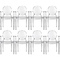 2xhome – 8 Piece Modern Ghost Chair Armchair With Arm Polycarbonate Crystal Clear Transparent Plastic
