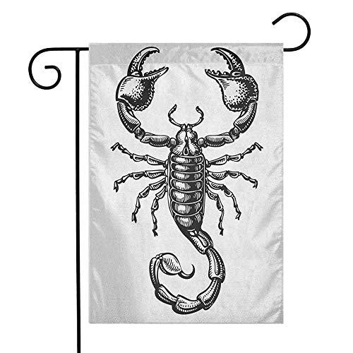 duommhome Zodiac Scorpio Garden Flag Monochrome Sign Sketch Art of a Scorpion Tattoo Animal Horoscopes Theme Decorative Flags for Garden Yard Lawn W12 x L18 Black and - Race Case Scorpion