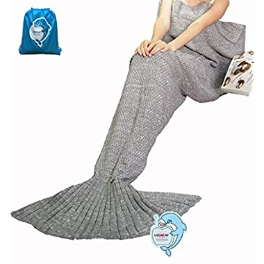LAGHCAT Mermaid Tail Blanket Knit Crochet and Mermaid Blanket for Adult, All Seasons Sleeping Blanket (71 x35.5 , Gray)