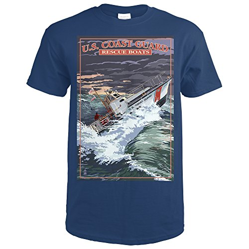 U.S. Coast Guard - 44 Foot Motor Life Boat (Navy Blue T-Shirt Large) - Coast Guard Motor Lifeboat