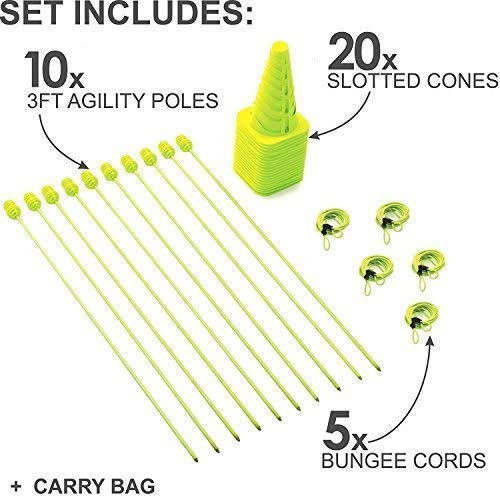 QuickPlay PRO Speed + Agility Set, Multi-Sport Training Agility Poles | Cones | Speed Hurdles | Soccer Tennis | Crowd Barrier New for 2017 ()