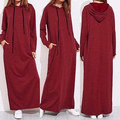 XIU*RONG Jersey De Manga Larga Con Capucha Hoodie Vestido Claret