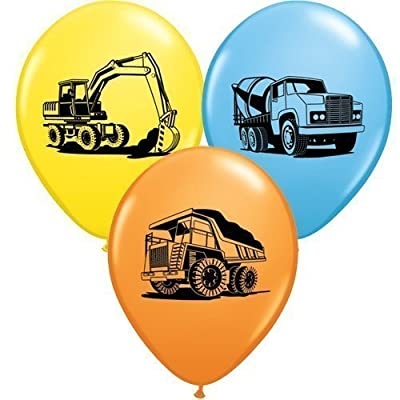 """Trucks & Diggers Party Construction Trucks Assorted 11"""" Latex Balloons x 5 by Qualatex"""