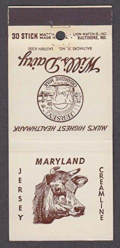 Md Milk (Will's Dairy Jersey Creamline Milk Baltimore MD matchcover)
