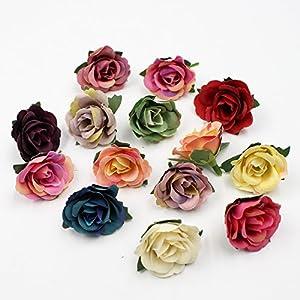 Artificial Flowers Mini Silk Rose Head Wedding Home Decoration DIY Flower Wall Scrapbook Gift Box Craft Flowers 30pcs/lot 3.5cm 64