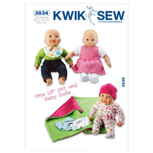 Kwik Sew K3834 Doll Clothes Sewing Pattern, Size Fits 16-Inch Baby Dolls - Pattern Doll Patterns