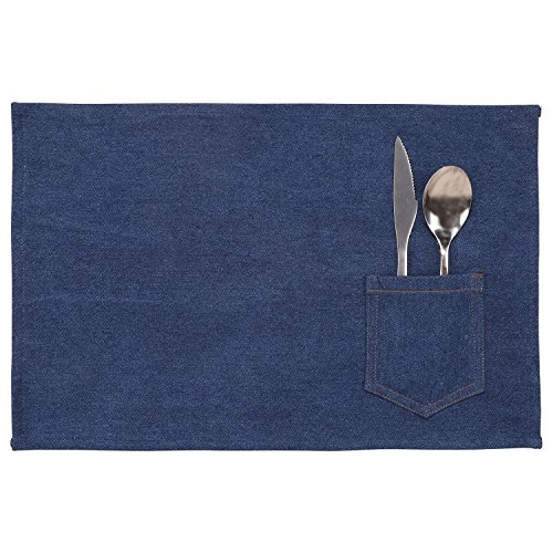 Neoviva Single Layer Denim Place Mat for Dining with Pocket, Solid Indigo Blue, Pack of 4