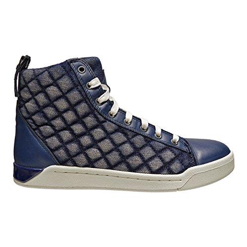 Diesel Diamant Hommes En Cuir-de Nim Haut Haut Lacets Baskets Chaussures Bleu
