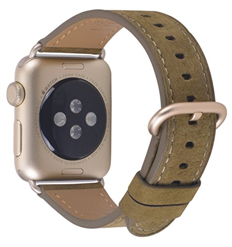 Nubuck Green (Compatible iWatch Band 38mm 40mm - PEAK ZHANG Women Green Brown Nubuck Leather Replacement Strap with Gold Adapter and Buckle Compatible Series 4 (40mm) Series 3 2 1 (38mm) Sport and Edition)