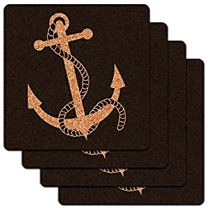Anchor and Rope Boat Boating Low Profile Cork Coaster Set