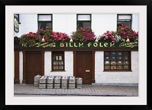 (greatBIGcanvas Ireland, County Tipperary. Beer barrels in front of Billy Foley pub by Dennis Flaherty Photographic Print with Black Frame, 36