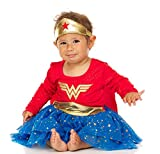 DC Comics Baby Wonder Woman Infant Girls' Costume Dress with Tiara and Cape, Red/Blue, 24 Months