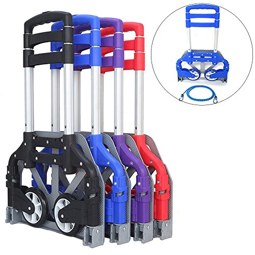 (FCH Folding Hand Truck Aluminum Portable Folding Hand Cart 165lbs Capacity Hand Cart and Dolly Ideal for Home, Auto, Office,Travel Use,Blue)